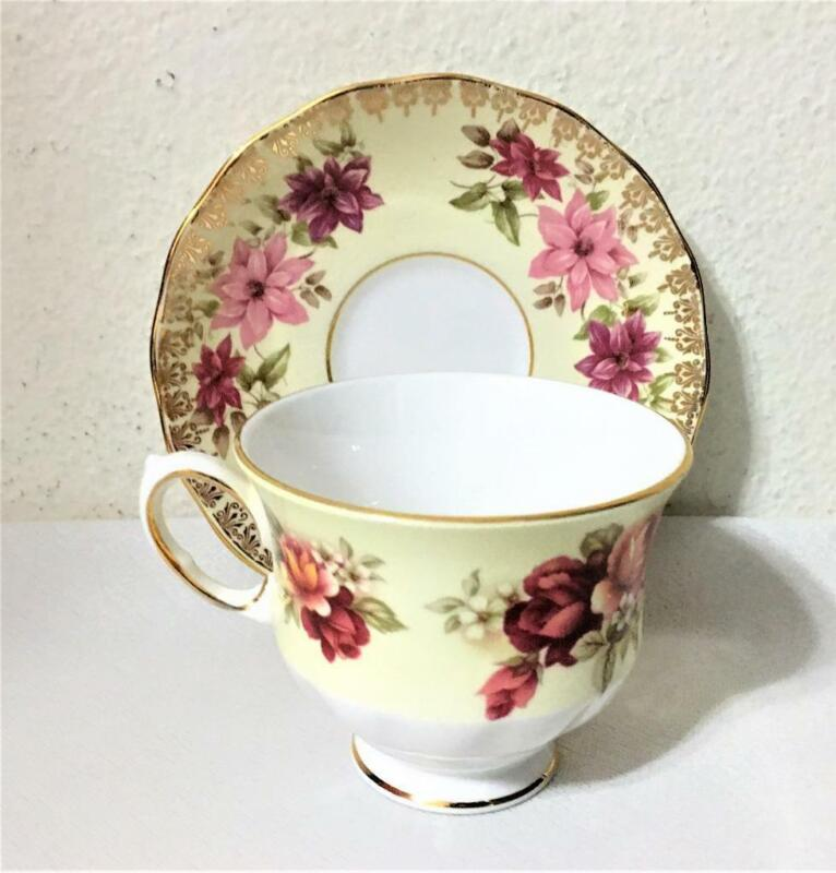 QUEEN ANNE BONE CHINA CUP SAUCER GOLD RED PINK ROSES RIDGWAY POTTERY ENGLAND VTG