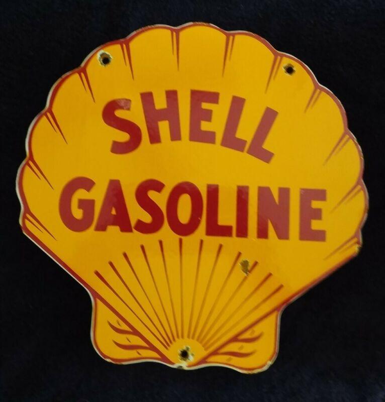 VINTAGE SHELL GASOLINE / MOTOR OIL PORCELAIN GAS PUMP SIGN