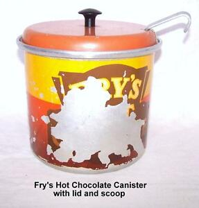 Fry's Hot Chocolate Canister, 1952, original scoop