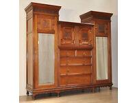 Large Antique Victorian Carved Walnut Arts & Crafts Compactum Triple Wardrobe