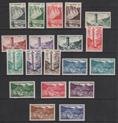 French Andorra 1955-1958 Set Sc #124 - 142 MH OG CV $204.60