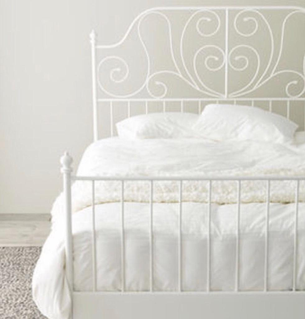 Ikea White Metal King Size Bed Frame