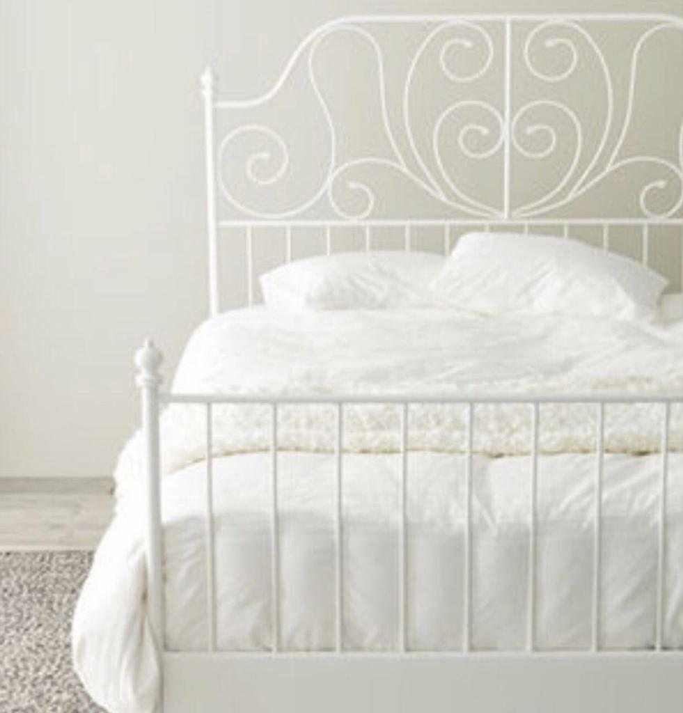 Ikea white metal king size bed frame | in Rumney, Cardiff | Gumtree