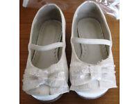 Girls Ivory Satin shoes, sizes 5 and 10