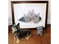 Job Lot of Yorkshire Terrier ornaments and picture.