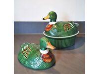 Vintage Ceramic Duck Egg Basket Holder Storage