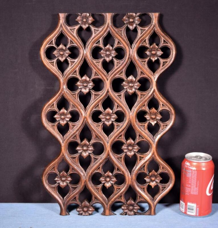 *French Antique Gothic Revival Panel/Grate in Walnut Wood Salvage