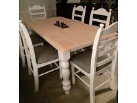 Stunning shabby chic dining table and 6 chairs