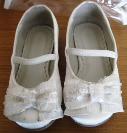 Girls Ivory Satin shoes, sizes 5 and 10