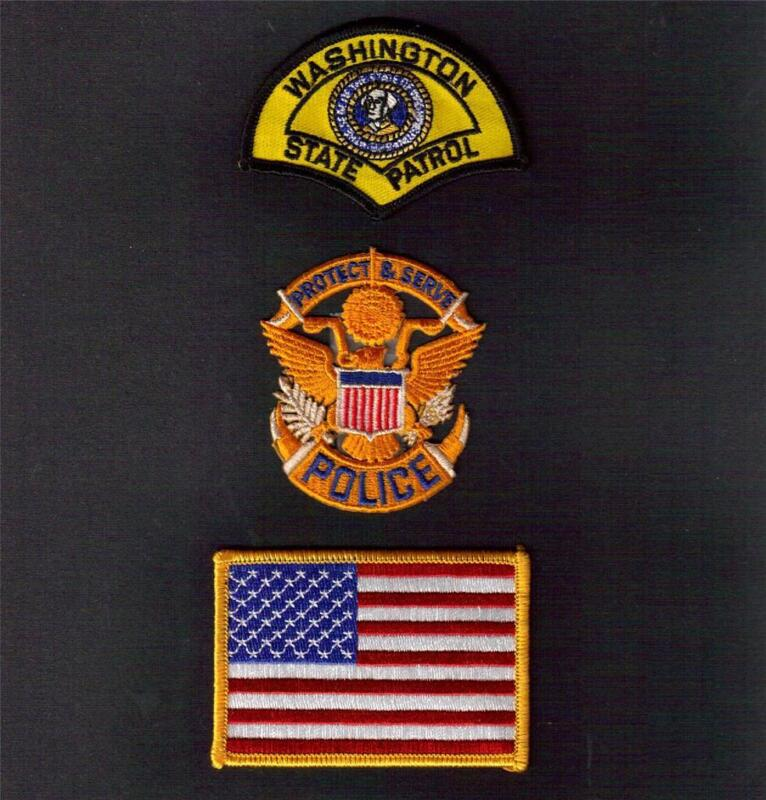 WASHINGTON State POLICE Protect and Serve USA FLAG Sew Iron On PATCH SET 3 Pcs