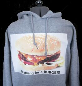 Cool Burger Unisex Grey Hoodie Small, Medium and Large