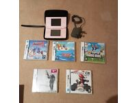 Nintendo DS with case and 5 games