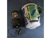 A one person compact sleeping bag in a small sack and a hand wind or 12V LED lamp