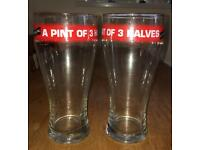 CARLING Huge beer glasses (pair) Home bar?