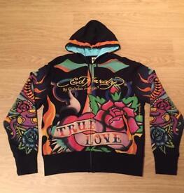 """Brand new vintage Ed Hardy """"True Love"""" Large black hoodie. Screen printed design"""