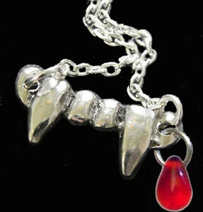 Funky-True-VAMPIRE-FANG-TEETH-BLOOD-NECKLACE-Gothic-Halloween-Costume-Jewelry-SM