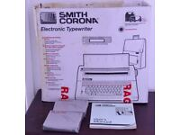 SMITH CORONA ELECTRONIC TYPEWRITER FOR SALE (BOXED) WITH INSTRUCTIONS AND RIBBON