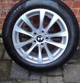 "4 BMW 17"" Alloy wheels AS New (fitted with very good winter tyres)"