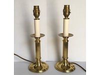 Pair Brass Lamps Corinthian Column Quality Brassware Made in England Candlestick