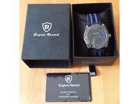 NEW - Gents Eugene Renard Timepiece Model X - Black Face - Blue Indices - Blue/Black Sports Strap