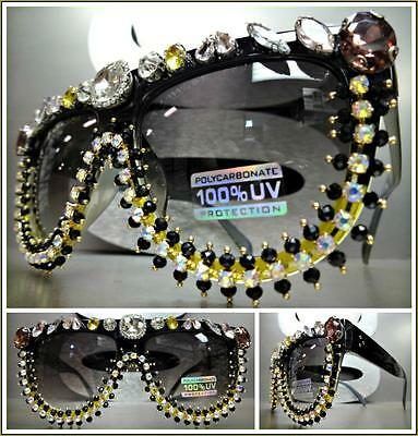 OVERSIZE VINTAGE RETRO Style SUN GLASSES Black Frame Crystals Stones Custom Made