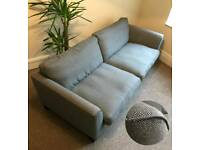 Grey 3 seater sofa and snuggle arm chair
