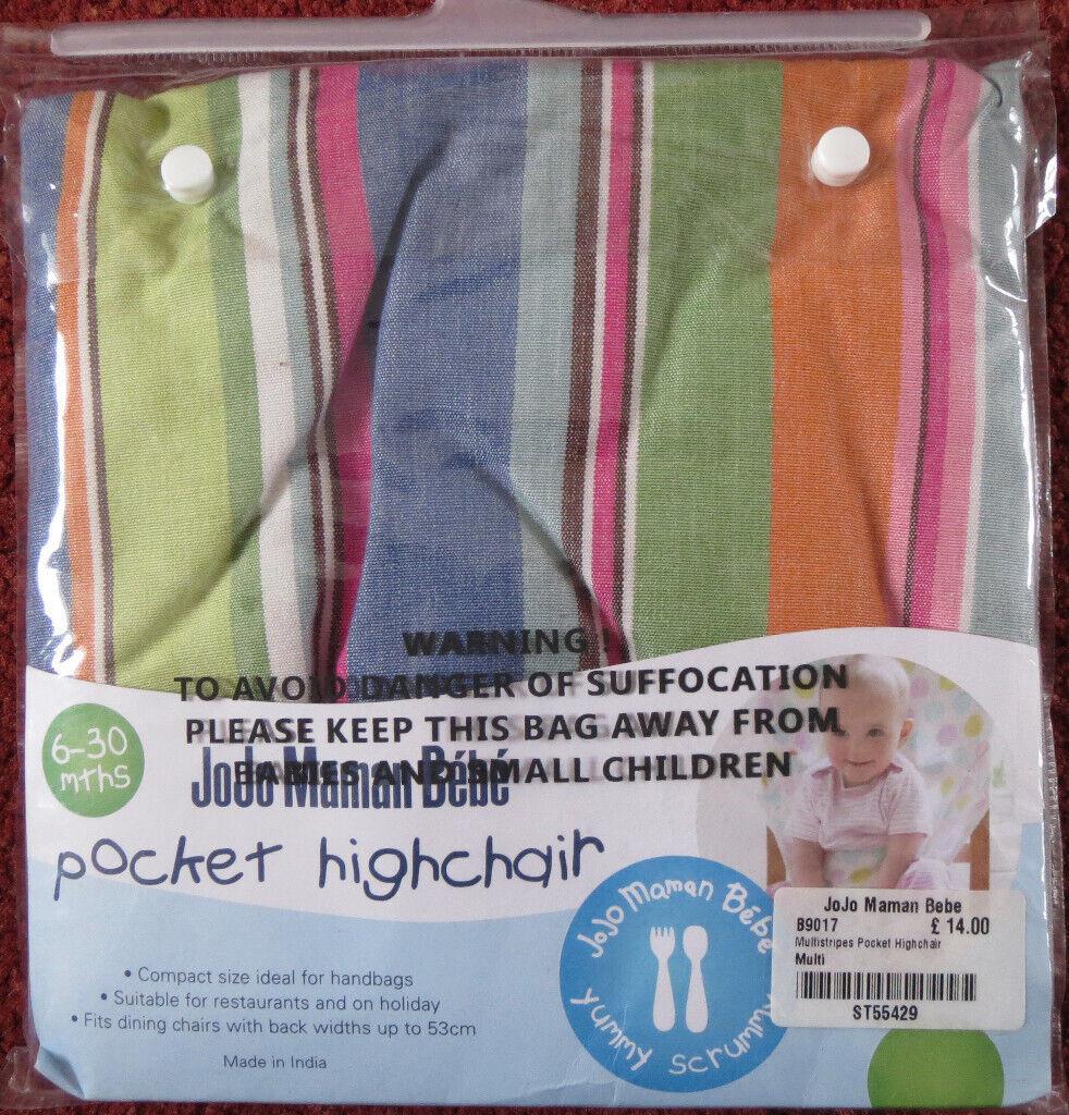 0ebda695b4 JoJo Maman Bebe Multistripe Pack-Away Pocket Highchair   in Exeter ...