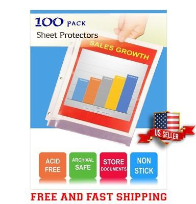 100 Clear Sheet Page Protectors Reinforced 3 Holes Paper Poly Document Sleeves