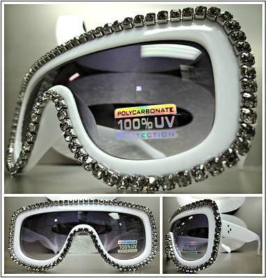 OVERSIZED VINTAGE RETRO SHIELD Style SUN GLASSES White Frame Hematite Crystals