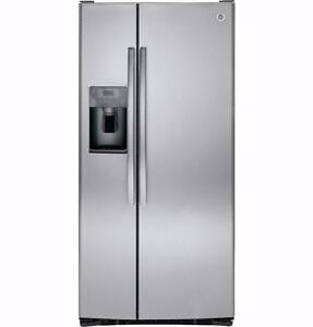 LIQUIDATION! Frigo côte à côte stainless 33'', Distributeur eau/glace, 23.2 pi. cu.