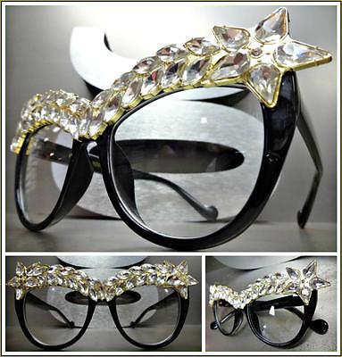EXAGGERATED VINTAGE CAT EYE Style Clear Lens EYE GLASSES Fashion Frame Crystals