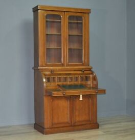 Attractive Large Antique Victorian Oak Cylinder Bureau Bookcase Cabinet