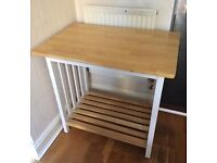 Wooden Kitchen Trolley (One shelf, no wheels) (Pick up required)