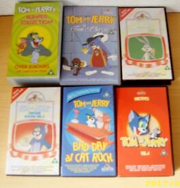 COLLECTION OF PRE RECORDED VCR VIDEO TOM & JERRY CARTOON PLUS OTHER TAPES