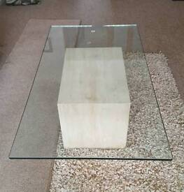 MARBLE & BEVELLED GLASS COFFEE TABLE