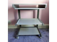 Grey Computer Desk with pull out keyboard shelf and printer shelf