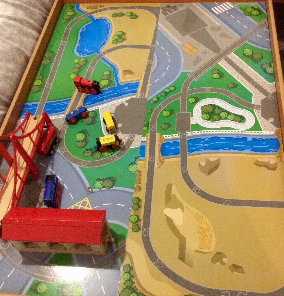 ELC Wooden Train Table 100 wooden pieces to include trains, carriages,  bridges and wooden track | in Altrincham, Manchester | Gumtree