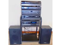 Panasonic HI-FI 4 piece system with Stand and Speakers and remote