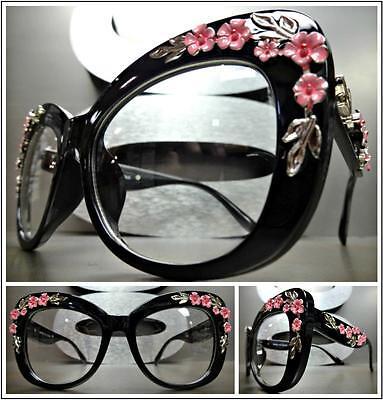 VINTAGE RETRO Style Clear Lens EYE GLASSES Large Black Frame Silver Pink (Large Frame Womens Glasses)