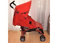 MOTHERCARE NANU PRAM/ PUSHCHAIR ,IN RED AND WHITE WITH MATCHING RAINCOVER VGC