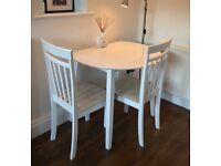 *****Sold***** White Dining Table and 2 Chairs