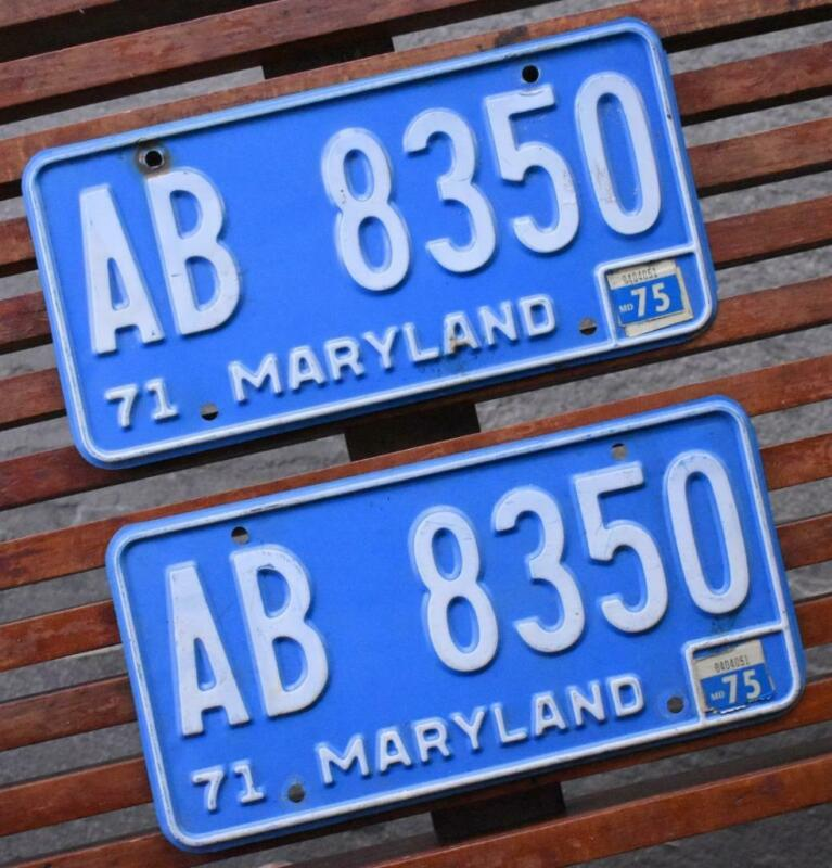 Pair Vintage 1971 MARYLAND Automobile Car License Plate Set
