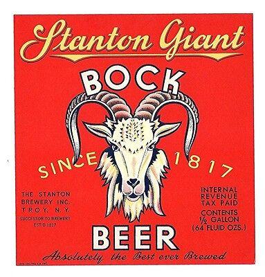 Stanton Giant Bock IRTP Beer Bottle Label Troy N Y ()