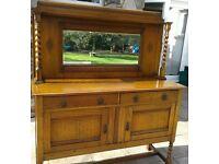 Vintage light Oak Barley Twist legs and finials Sideboard Cabinet + Drawers
