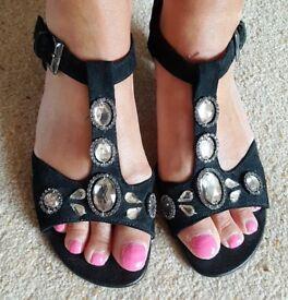 Ladies Black Suede & Diamante Heeled Sandals Size 5 - (worn once)