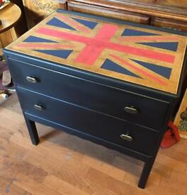 Funky upcycled two drawers chest