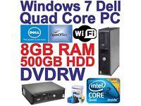 Windows 7 Dell Core 2 Quad HDMI Desktop PC Computer - 8GB RAM - 500GB HDD Wi-Fi