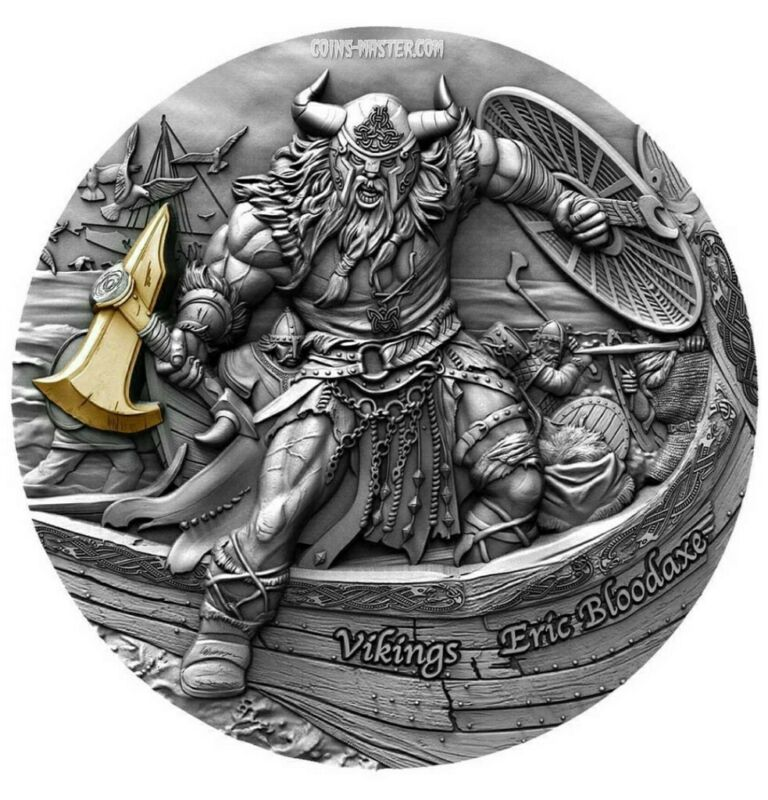 2020 2 Oz Silver ERIC BLOODAXE Vikings, Antique Finish High Relief Coin.