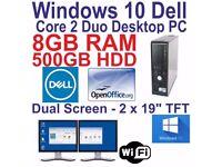 Windows 10- Dell Core 2 Duo - Desktop -Dual Screen 2 x 19- 8GB RAM -500HDD -WIFI