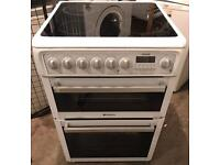 White HOTPOINT Ceramic Plate Nice Electric Cooker 60cm wide & Fully Working Order
